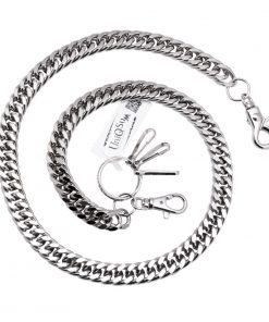 curb-cuban-chains-silver-metal-wallet-chain-dog-collar-leash-cut-link-wallet-chains