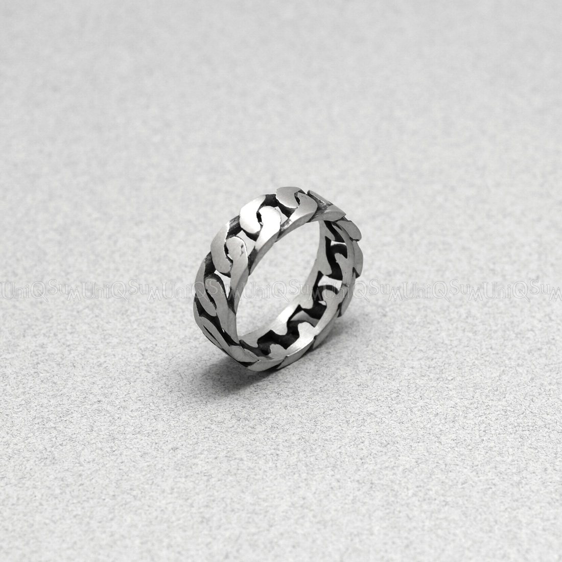 925 Silver Chain >> Antique 925 Sterling Silver Chain Ring