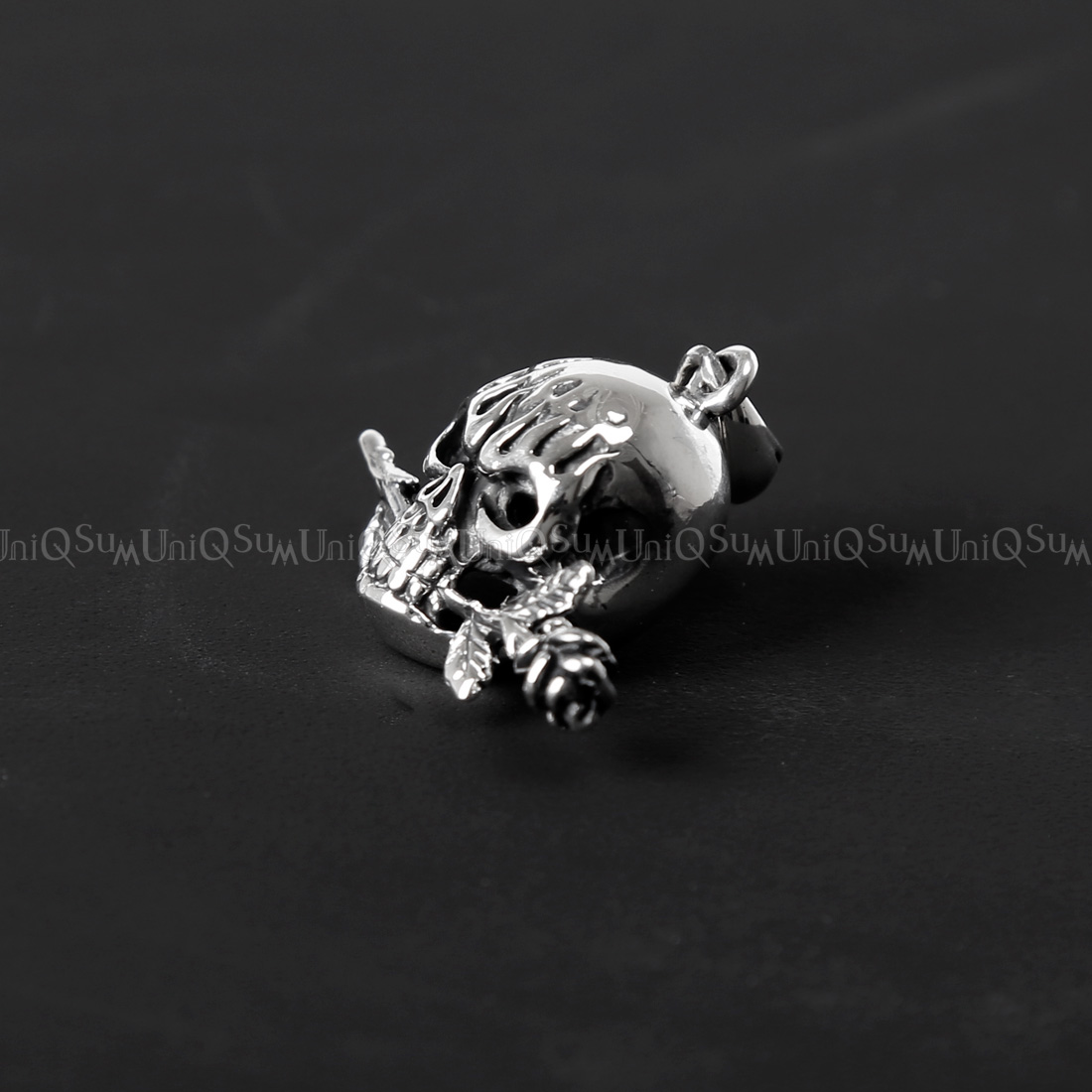 925 sterling silver tango rose skull pendant uniqsum rose skull pendant tango rose skull sterling silver mozeypictures Image collections