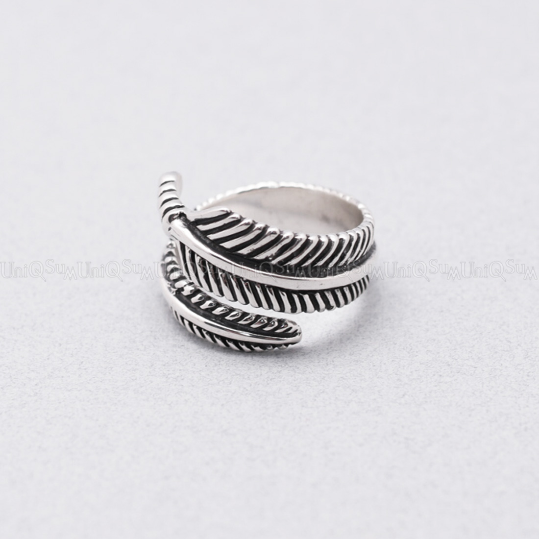 antique 925 sterling silver feather ring