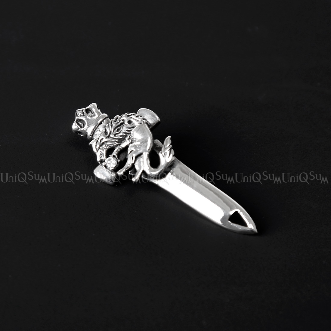 Sword wolf 925 sterling silver pendant uniqsum wolf pendant cubic zirconia wolf sword 925 sterling aloadofball Choice Image