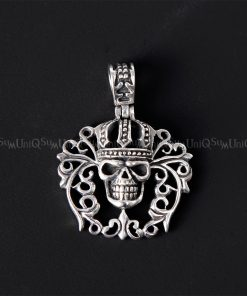 Crown skull pendant Fleur de lis celtic crown skull 925 sterling silver pendant skull jewelry