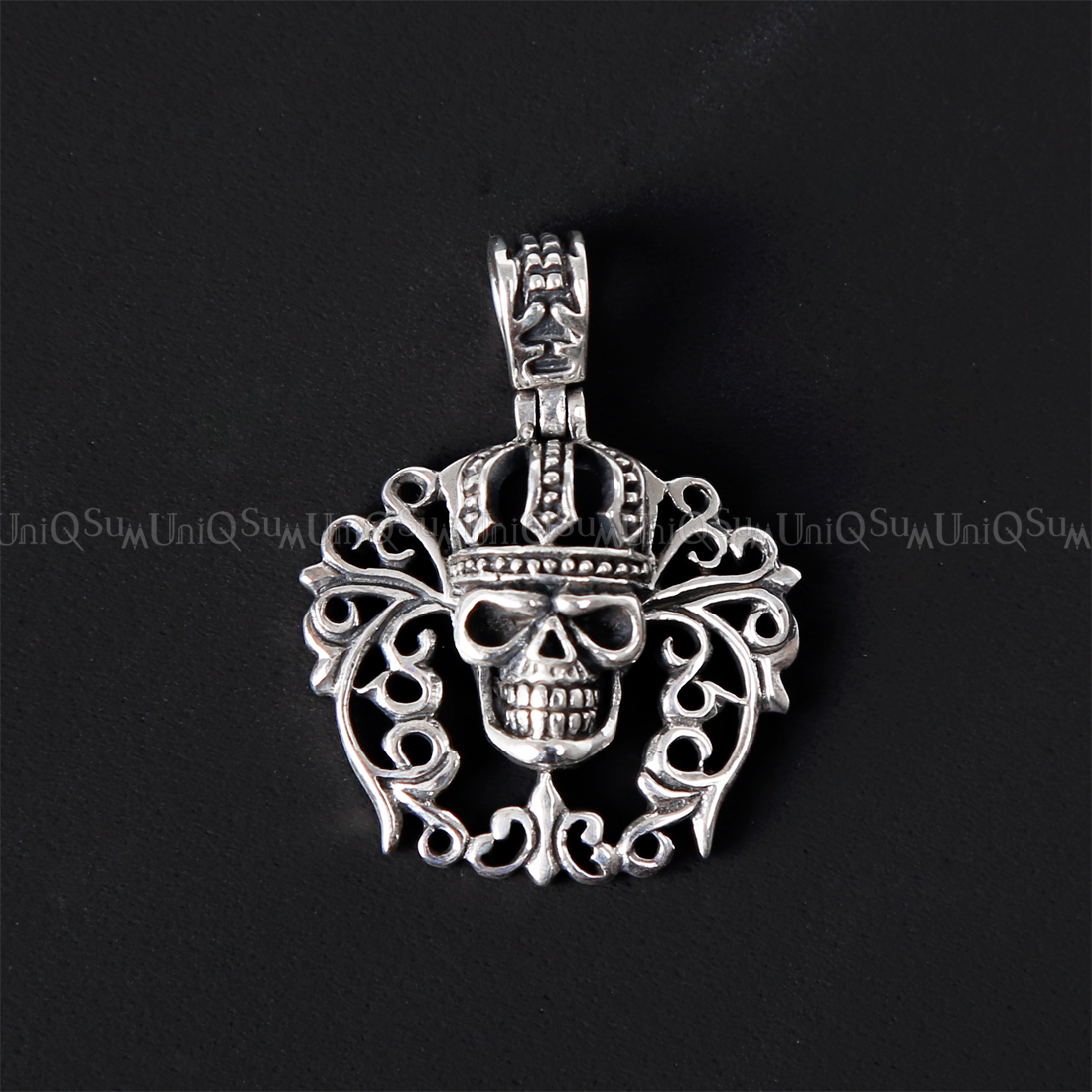 Ethnic crown skull 925 sterling silver pendant uniqsum crown skull pendant fleur de lis celtic crown skull 925 sterling silver pendant skull jewelry aloadofball Image collections