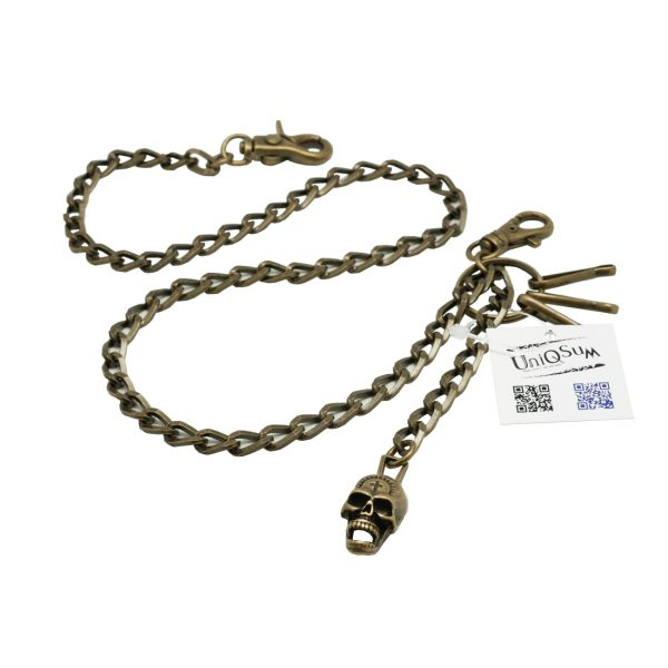 Skull wallet chain Creepy Cross Skull charm Wallet chains for Men biker bronze metal chain