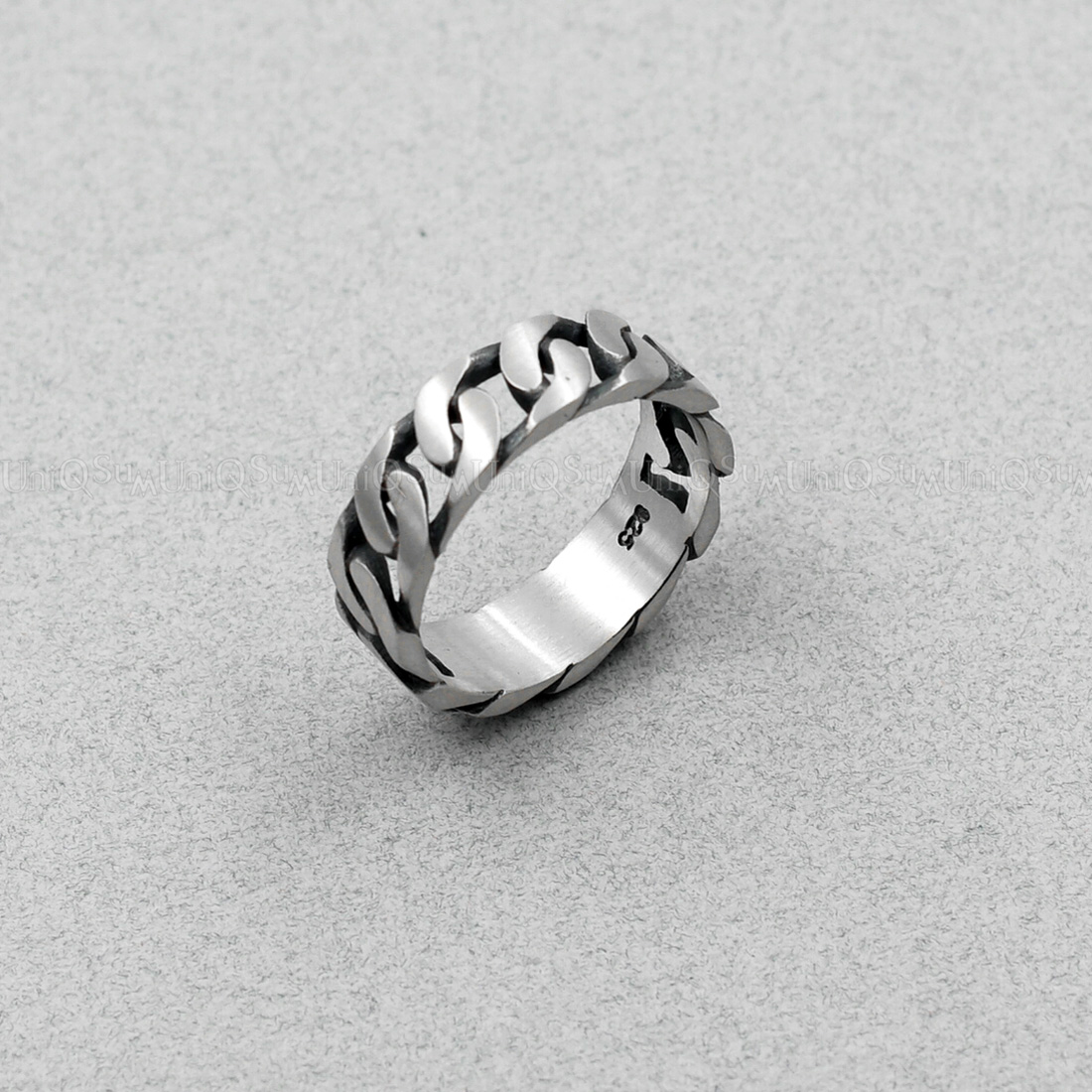 Antique Chain 925 Sterling Silver Bar Ring