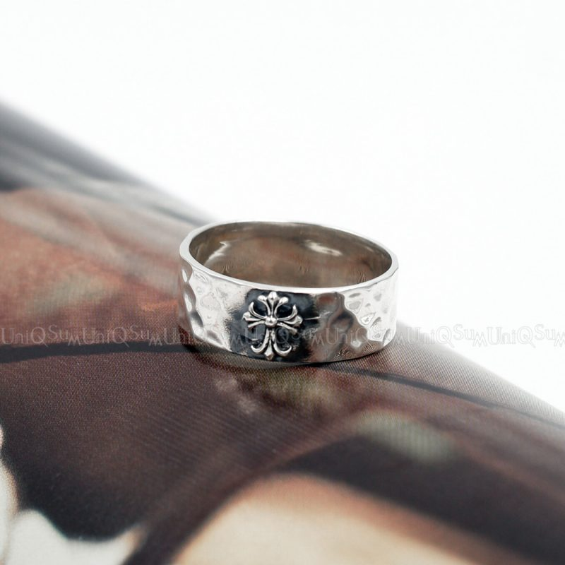 Antique Cross 925 sterling silver band Ring