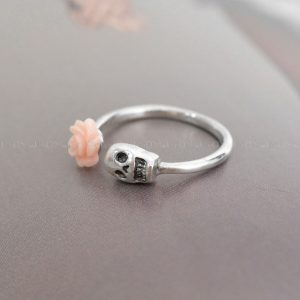 pink rose skull ring rose skull 925 sterling silver rings for women sugar skull jewelry
