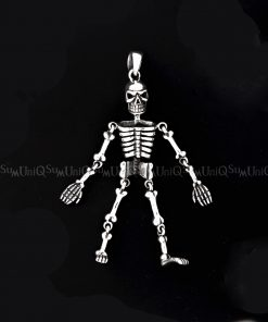 skull Pendant Movable joint skull 925 silver pendant skeleton sterling silver mens jewelry