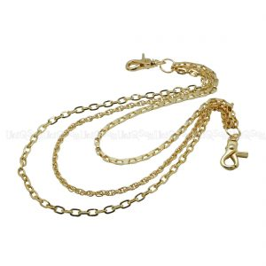 triple wallet chains simple Slim wallet chain Gold metal punk biker chain
