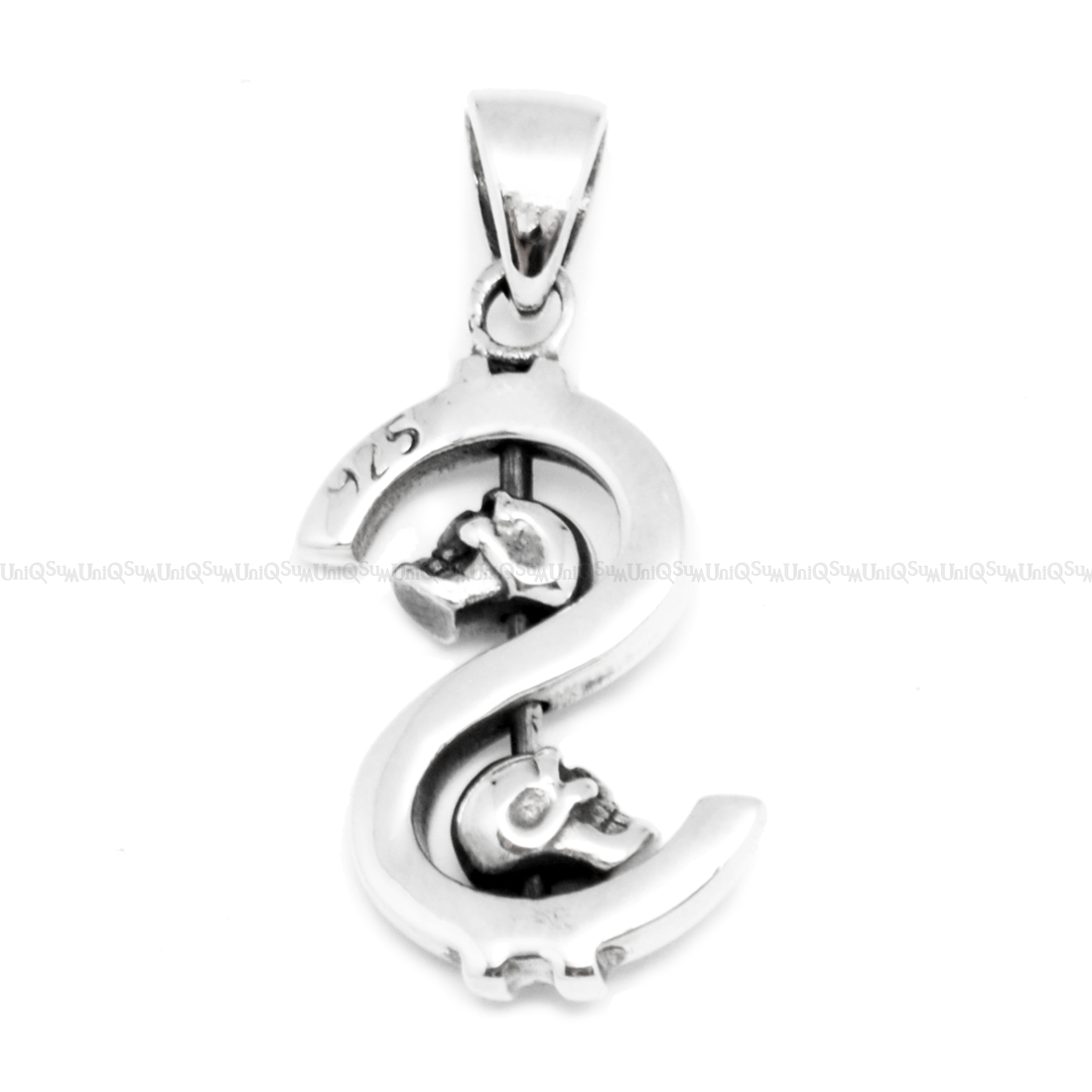 Dollar sign skull 925 sterling silver pendant uniqsum skull pendant dollar skull sterling silver pendants for mens necklaces aloadofball Image collections