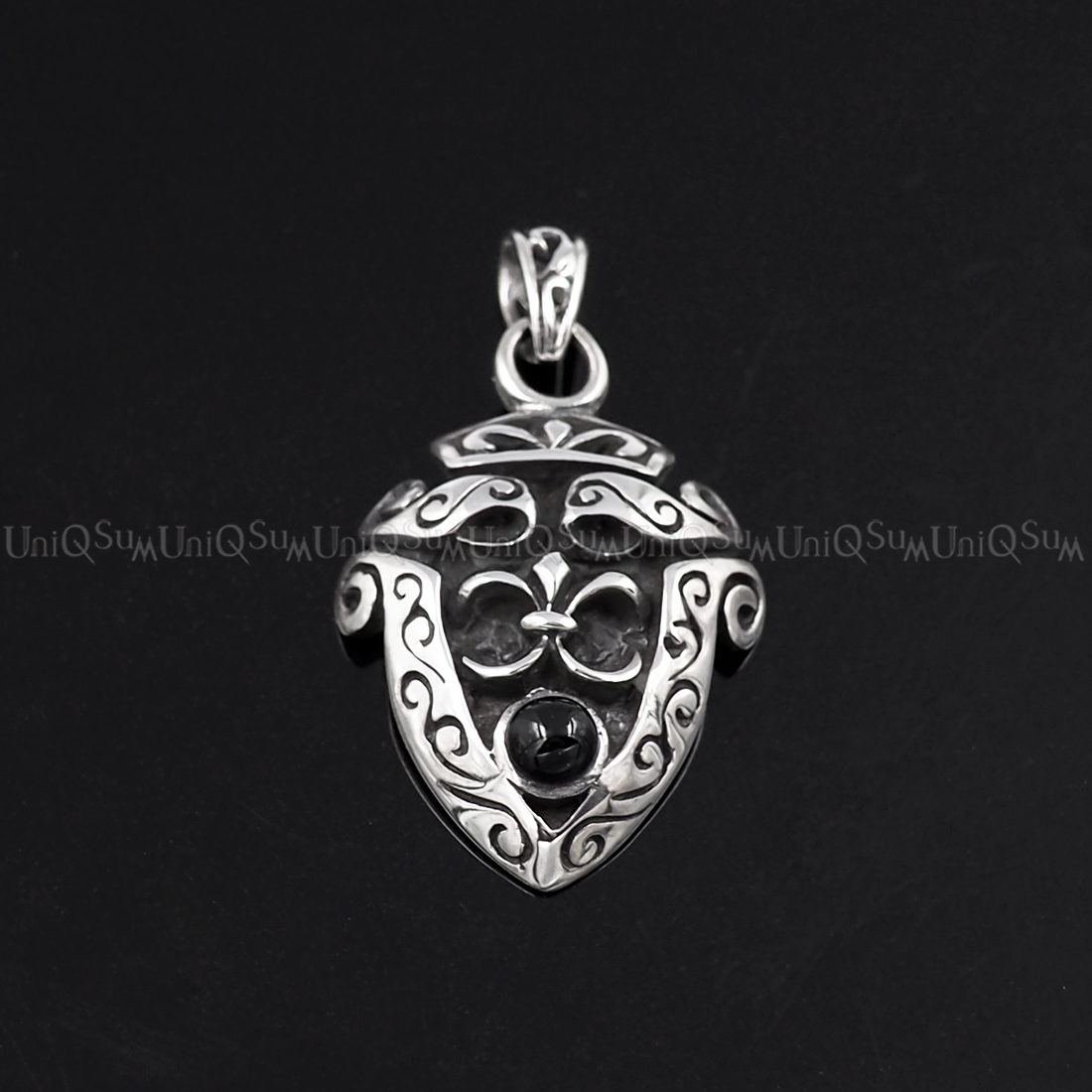 Fleur de lis celtic shield 925 sterling silver pendant uniqsum fleur de lis pendants fleur de lis shield pendant celtic charm 925 sterling silver pendants mozeypictures Image collections