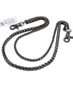 Wallet chains for Men women Basic rope double wallet chain silver Gun metal chain