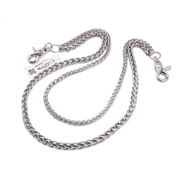 Wallet chains for Men women Basic rope double wallet chain silver metal chain
