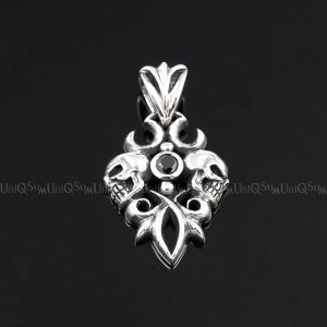 skull pendant Black onyx creepy skull silver pendant 925 sterling silver charms biker jewelry