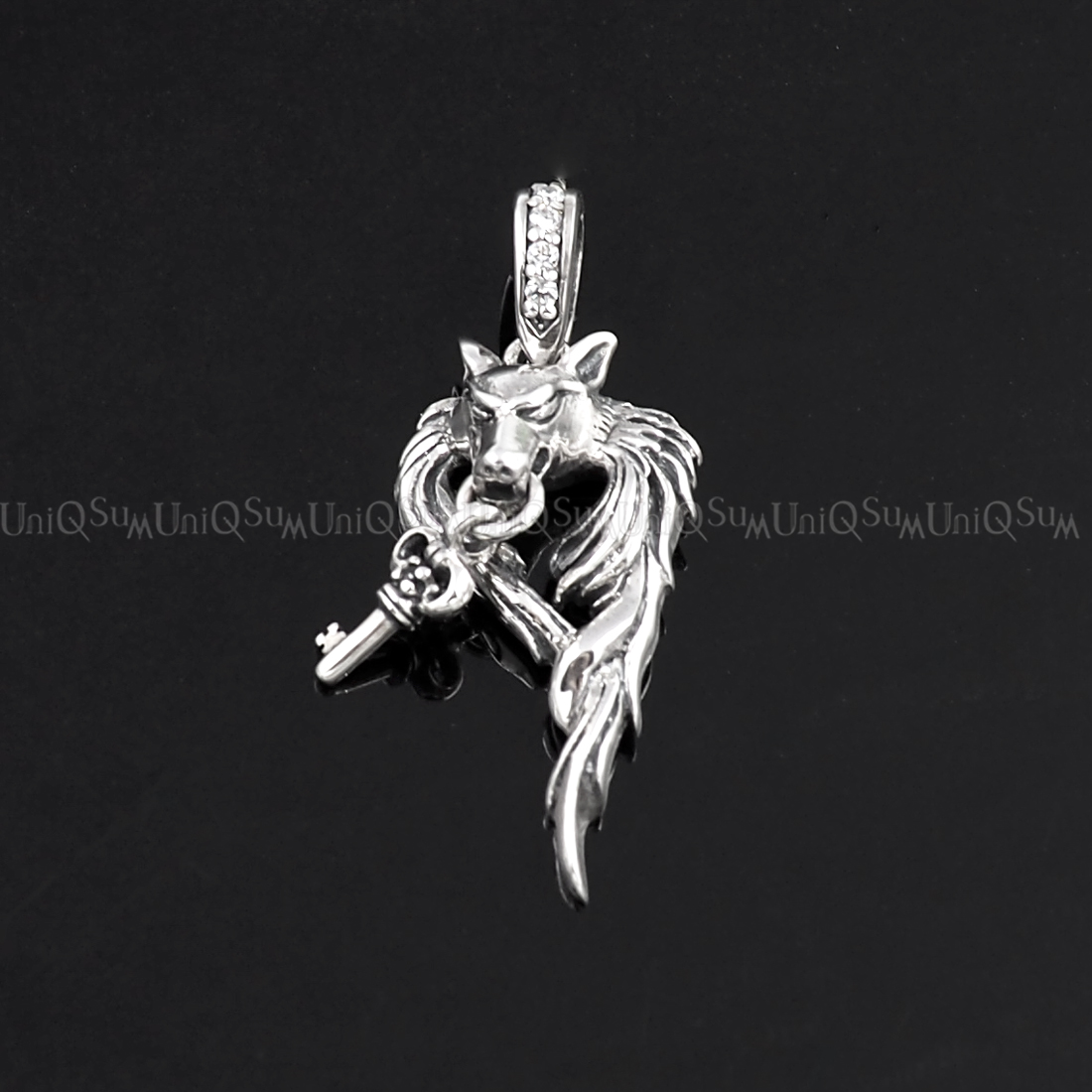 925 sterling silver wolf pendant with dangling key uniqsum wolf pendant key wolf 925 sterling silver pendants for mens necklaces key charm biker jewelry aloadofball Image collections