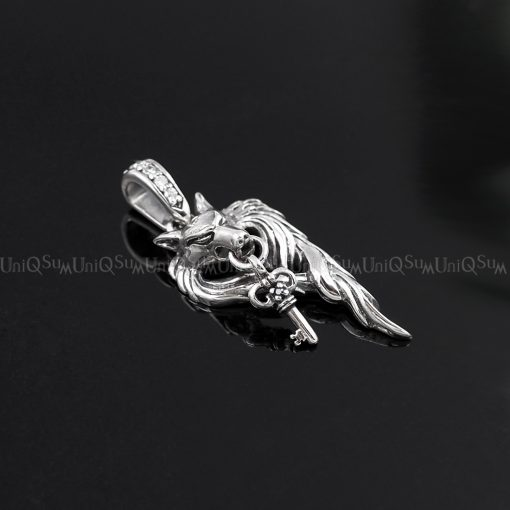 wolf pendant Key wolf 925 sterling silver pendants for mens necklaces key charm biker jewelry