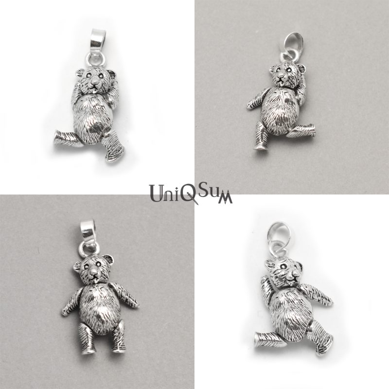 Movable 925 silver bear pendant uniqsum bear pendants silver bear charm bear 925 sterling silver pendant for womens necklaces unique jewelry aloadofball Images