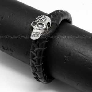 Sterling silver mens bracelets Cross skull bracelet Black leather bracelets