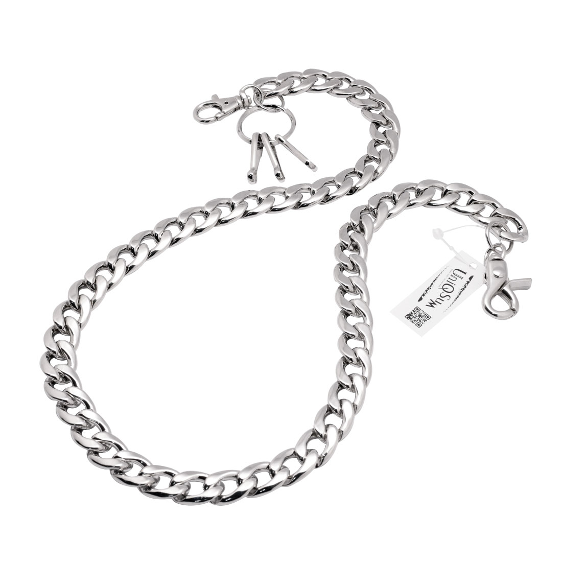 Strong Flat Soft Curved Leash Wallet Chain Silver Uniqsum