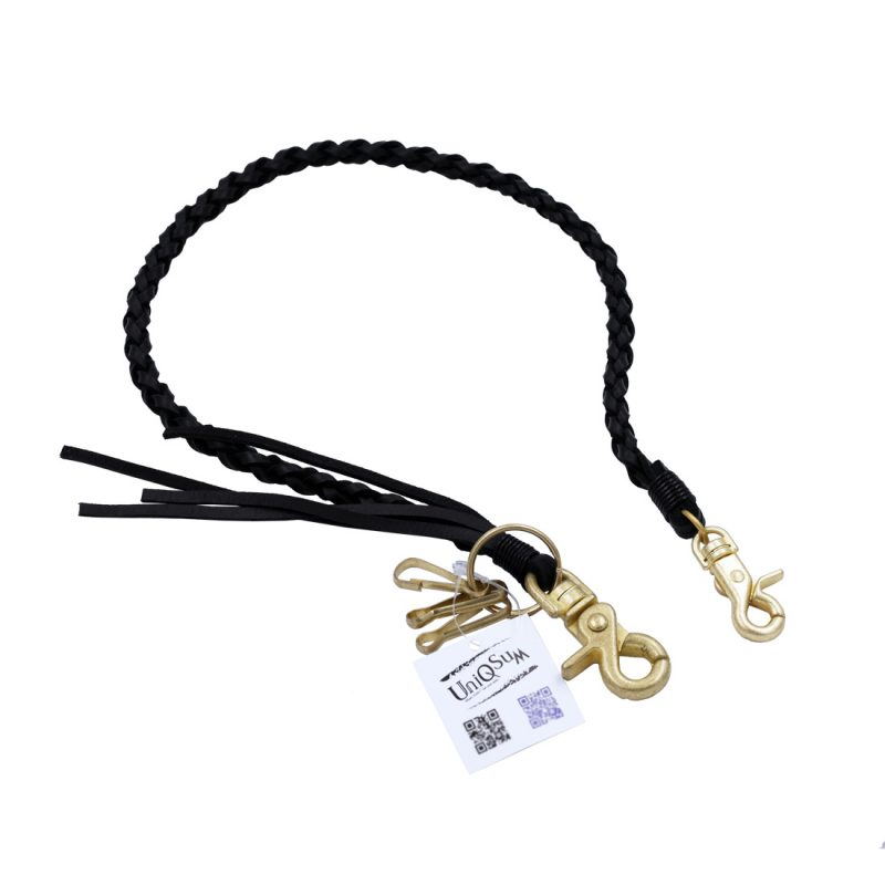 braided leather wallet chains gold clasp black leather wallet chain Biker jewelry keyring