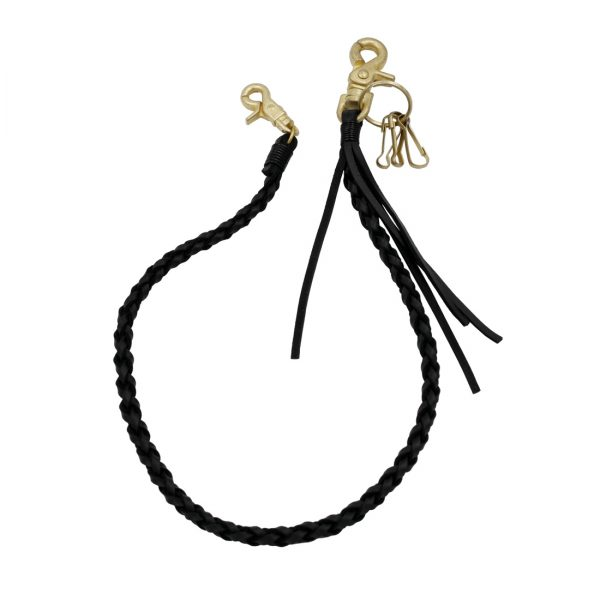 leather wallet chains vintage gold clasp black leather wallet chain Biker jewelry keyring