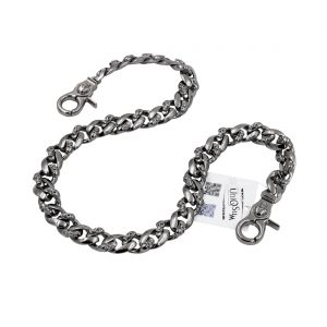 skull wallet chain Strong flat gun metal wallet chain skull jewelry keyring biker chains