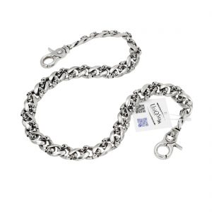 skull wallet chain Strong flat silver metal wallet chain skull jewelry keyring biker chains