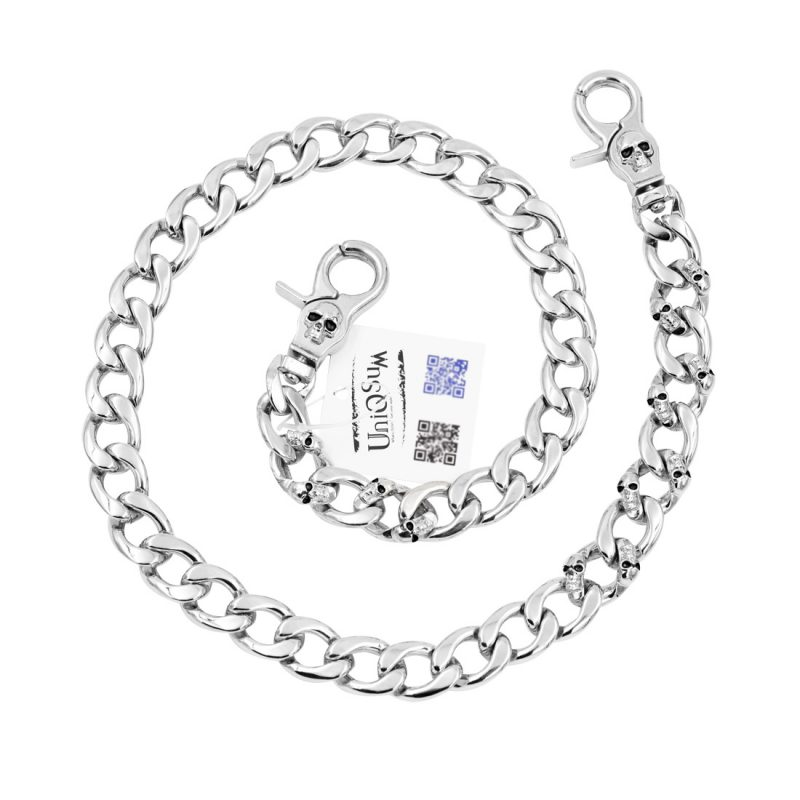 skull wallet chain Strong flat silver metal wallet chain skull jewelry keyring