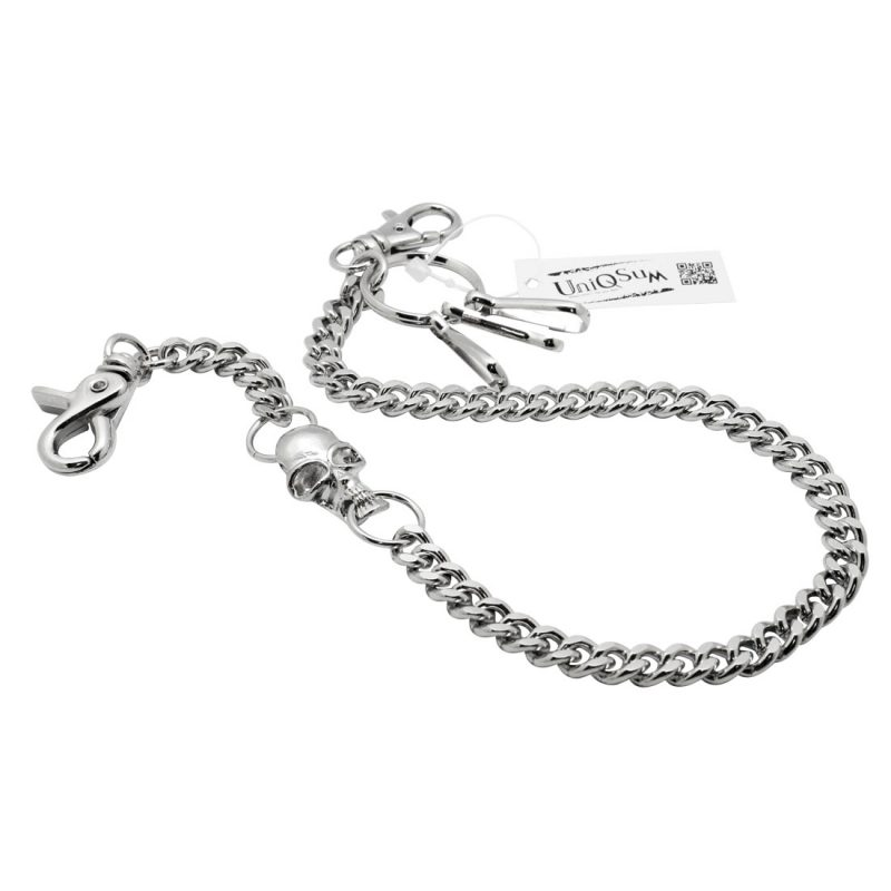 skull wallet chain Skull charm biker metal chains silver curb cuban wallet chains