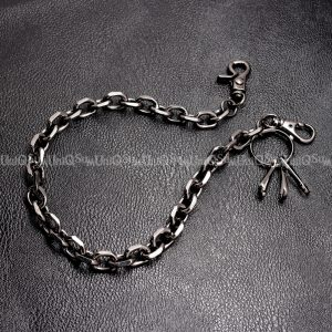 Short wallet chain Black curb cuban gun metal wallet chain cut leash biker chains punk