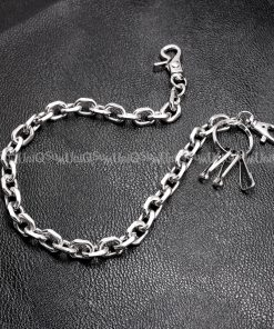 Short wallet chain Silver curb cuban wallet chain cut leash biker chains punk