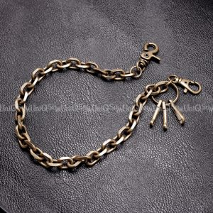 Short wallet chain Bronze curb cuban vintage metal wallet chain cut leash biker chains punk