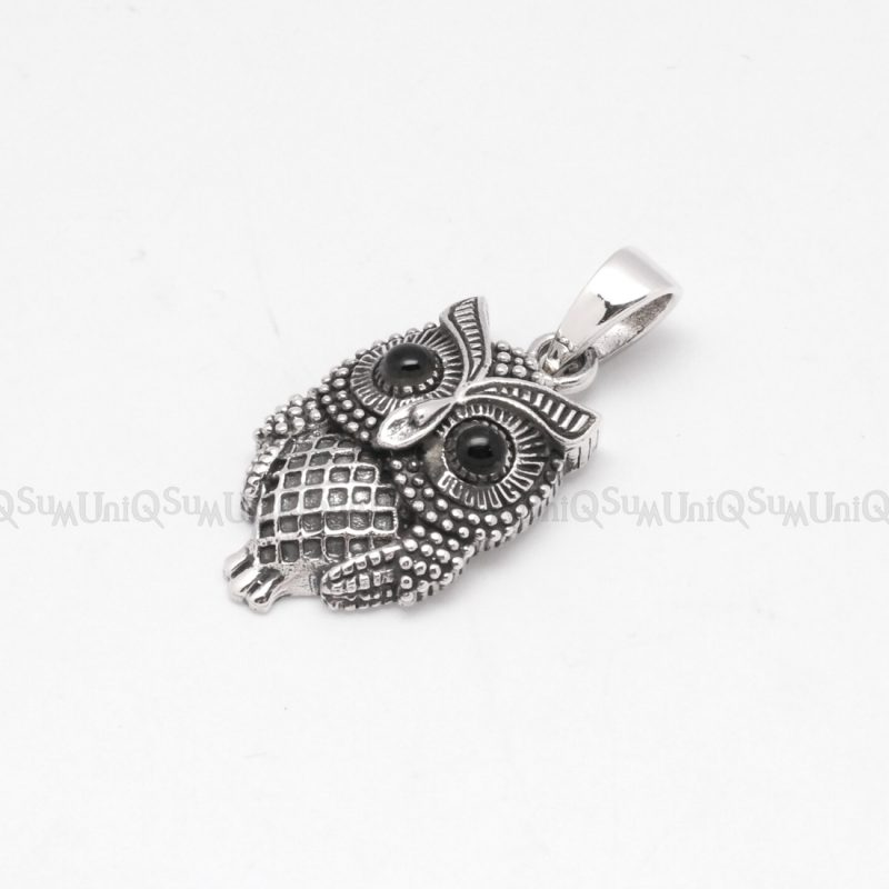 Black onyx eyes sterling silver owl pendant uniqsum owl pendants silver owl charm animal 925 sterling silver pendant for womens necklaces vintage pendant unique jewelry mozeypictures Image collections