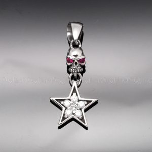 skull pendant pink eye skull star 925 silver charms cubic zirconia necklaces