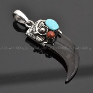 Sterling silver charms Pendant Onyx Horn Turquoise corallite 925 Silver necklaces charm