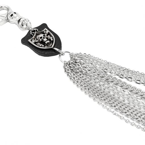 multiple wallet chain silver metal multiple lines skull wallet chain belly biker chains