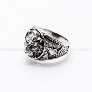 mens rings Lion ring wild safari 925 sterling silver rings for men