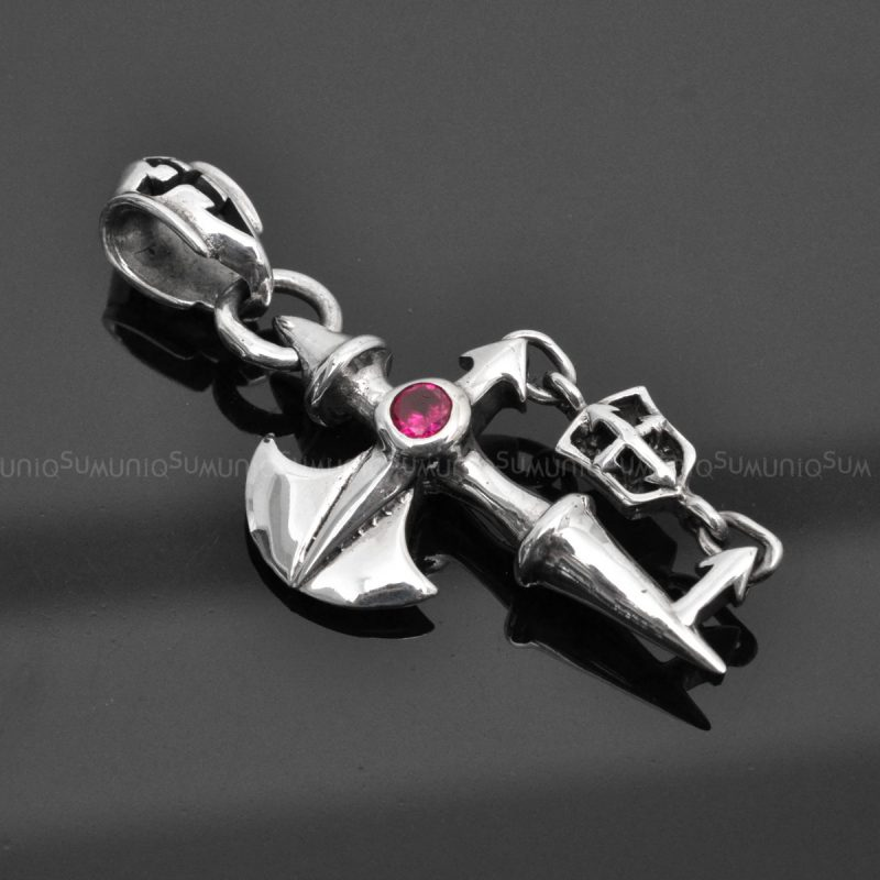 Sterling silver charms Pendant 925P-AX Cross AX 925 Silver necklaces charm