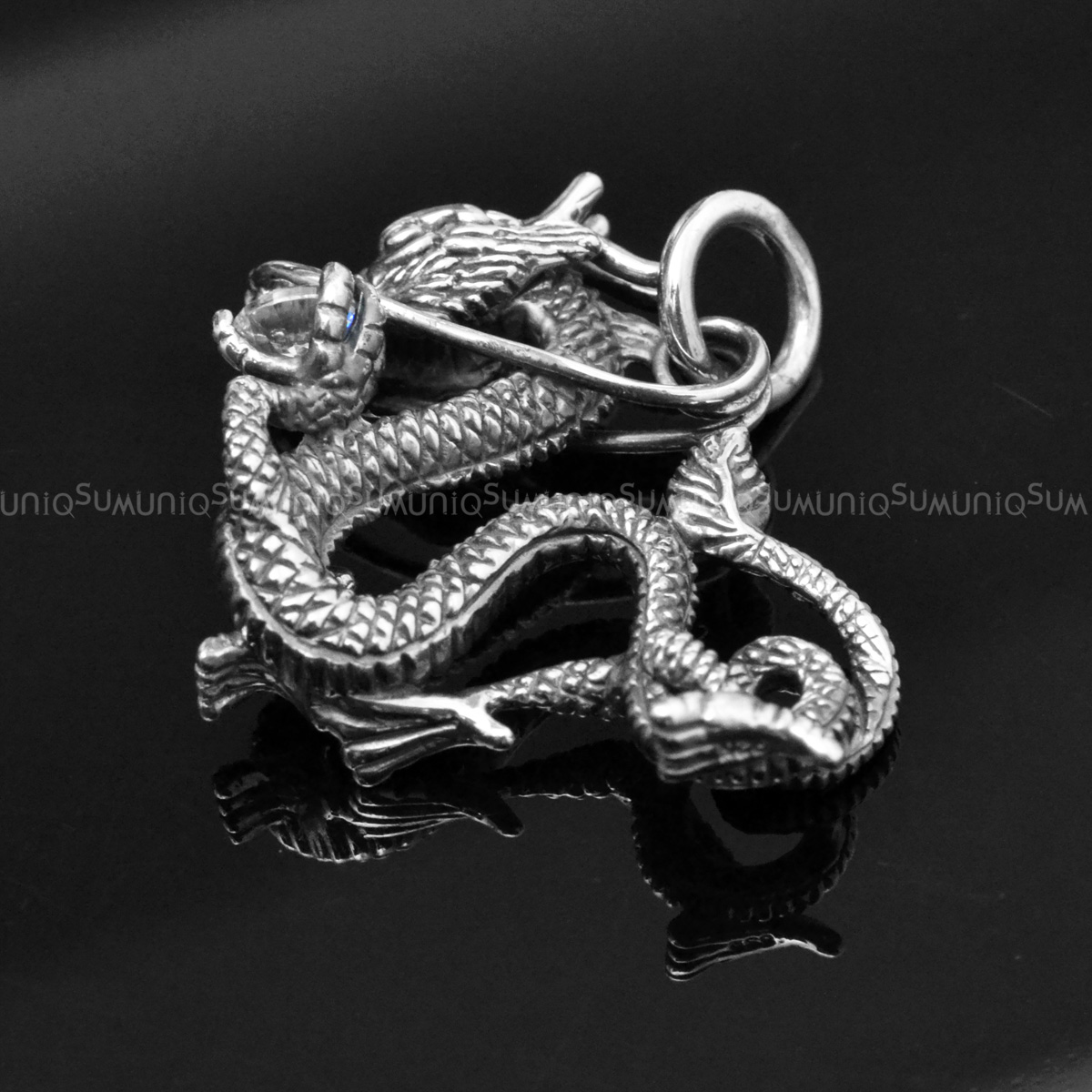 Dragon 925 sterling silver pendant with bright cintamani uniqsum sterling silver charms pendant zirconia cintamani dragon 925 silver necklaces charm aloadofball Image collections