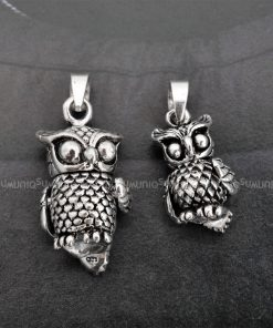OWL pendant 925P_OWL Owl 925 silver pendants for necklace