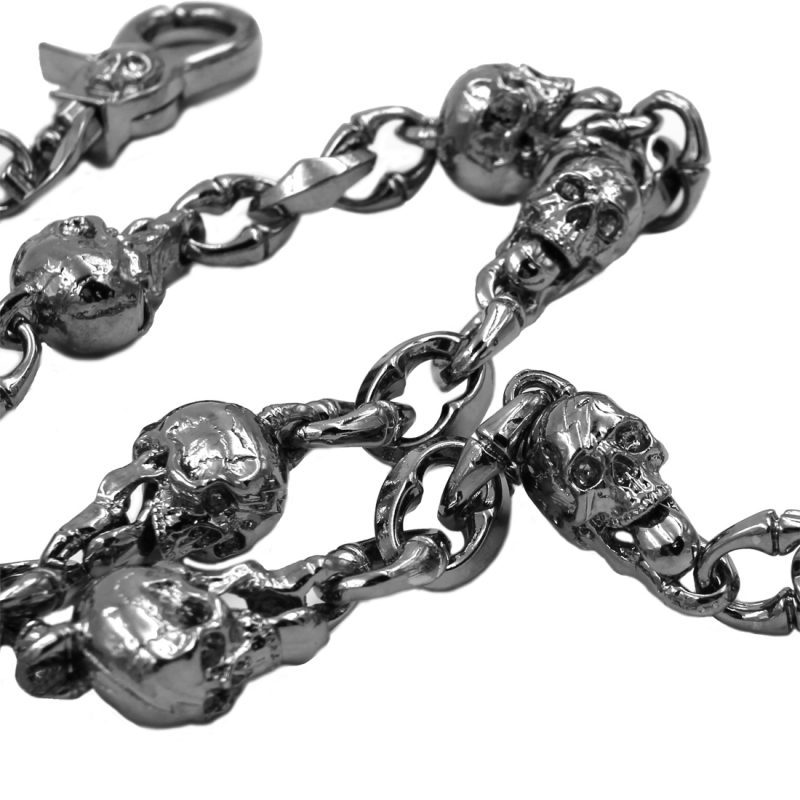 Skull wallet chain  Skull Tongue Charms Gun metal Wallet chains Biker chain