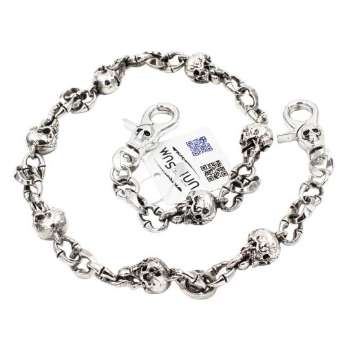 Skull wallet chain Skull Tongue Charms silver metal Wallet chains Biker chain