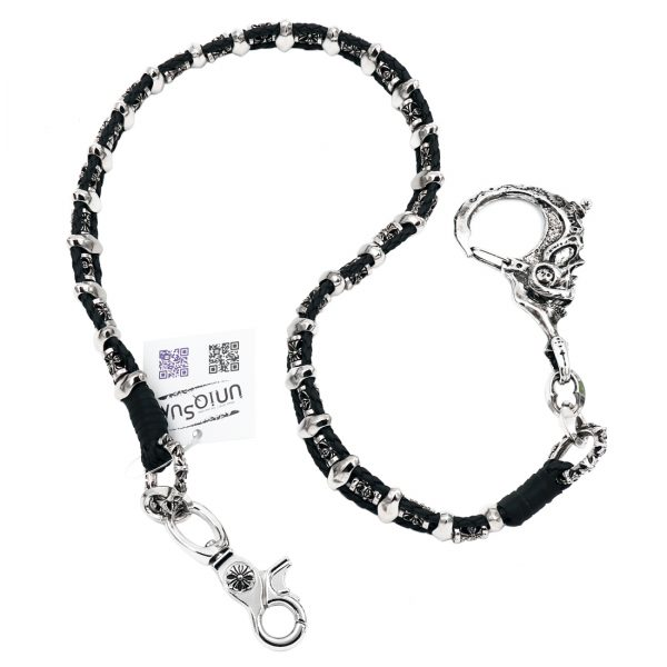 leather wallet chain Silver metal wallet chains skull chains