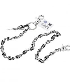 skull wallet chain Silver metal sword skull charm wallet chains biker chains keyring