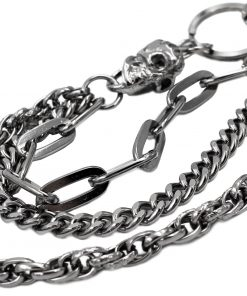 skull wallet chain Gun metal Triple wallet chains biker jewelry