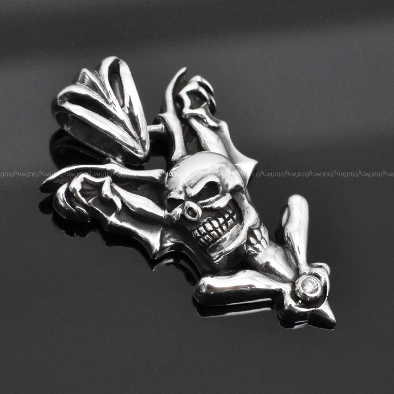 Sterling silver charms Pendant Skull bat 925 Silver necklaces charm