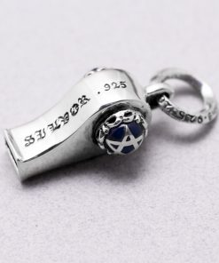 Whistle silver pendant Blue rainstone Star Whistle pendants self defense 925 sterling silver charms