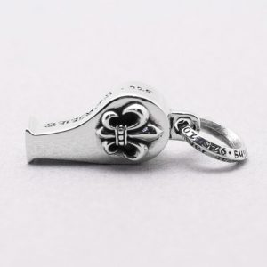 Whistle silver pendant Whistle pendants self defense Fleur de lis 925 sterling silver charms