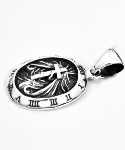 cross pendant Cross clock 925 silver pendant