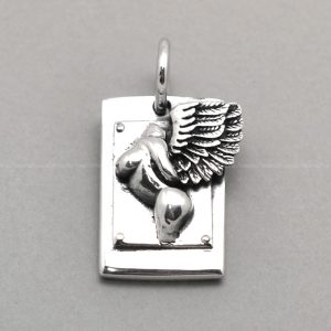 silver pendant SQUARE Angel charm 925 sterling silver charms